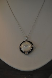 Black Steel with White Mother of Pearl Necklace