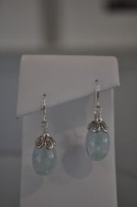 Soft Silver and Cloudy Aquamarine Earrings