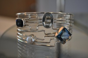 Natural Stone and Topaz Cuff in Sterling Silver.