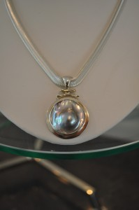 Soft Silver Necklace and Perl Pendent